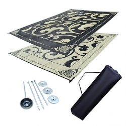 Professional EZ Travel Collection RV Awning Mat Reversible Patio Mat Black and Beige D-Vine Mat  ...