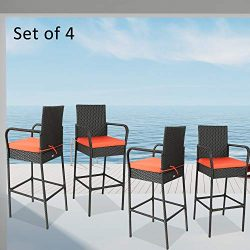 JETIME Patio Bar Stool 4Pcs Rattan Furniture Outdoor Wicker Bar Set Black Bar Stool-B with Orange