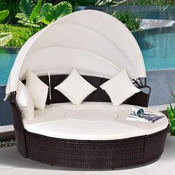 Tangkula Patio Furniture, Outdoor Lawn Backyard Poolside Garden Round Sofas with Retractable Can ...