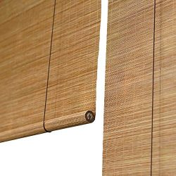 Roller Shades Bamboo Roll Up Blinds with Hooks, Outdoor for Porch Patio Balcony, Sun Shades 60%  ...
