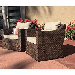 SUNSITT Patio Outdoor Furniture 2-Piece Brown Wicker Single Club Chairs w/Beige Olefin Cushions  ...