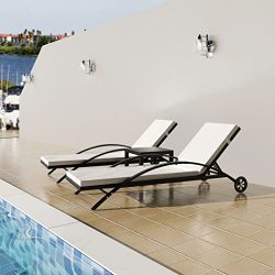 3 Pcs Outdoor Pool Chaise Lounge Chair Set, 2 Sun Loungers Adjustable + 1 Table Outdoor Furnitur ...