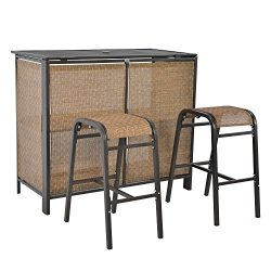LCH 3 pcs Rattan Bar Set, 1 Table 2 Bar Stools, Outdoor Patio Furniture Set, Backyard, Porch, Ga ...