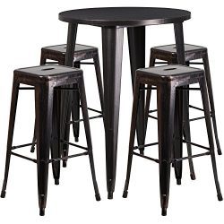 "Flash Furniture 30"" Round Black-Antique Gold Metal Indoor-Outdoor Bar Table Set with 4 Squ ..."