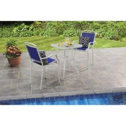 Mainstay* Premium Outdoor Bistro Sets Patio Furniture Set Table 3 Piece Bar Height Seating in Blue