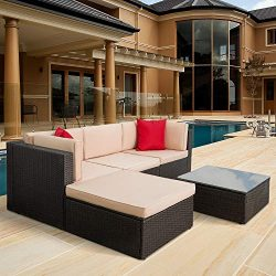 Tuoze 5 Pieces Outdoor Patio Furniture Sectional Sets All-Weather PE Rattan Wicker Lawn Conversa ...