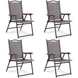 Giantex Set of 4 Folding Sling Back Chairs Indoor Outdoor Reclining Camping Chairs Garden Patio  ...