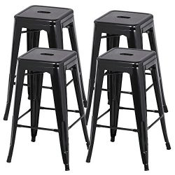 Yaheetech 30 inches Metal Bar Stools High Backless Barstool Stackable Bar Height Stools Chairs,S ...