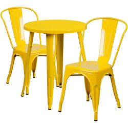 "Flash Furniture 24"" Round Yellow Metal Indoor-Outdoor Table Set with 2 Cafe Chairs"