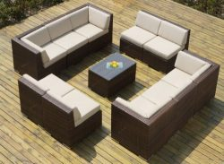 Ohana 11-Piece Outdoor Wicker Patio Furniture Sectional Conversation Set with Weather Resistant  ...