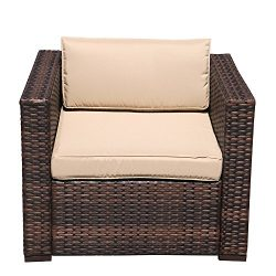 Super Patio Wicker Single Chair, Outdoor Furniture All Weather Wicker Armchair Sofa Thick Beige  ...