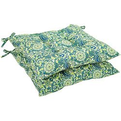AmazonBasics Square Seat Patio Cushion, Set of 2- Blue Floral
