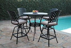 Kawaii Collections Outdoor Patio 5 Piece Cast Aluminum 42″ Bar Table Set with 4 Swivel Bar ...