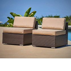 SUNCROWN Outdoor Furniture All Weather Brown Checkered Wicker Chairs (2) | Additional Seats 7-Pi ...