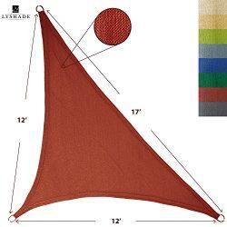 LyShade 12′ x 12′ x 17′ Right Triangle Sun Shade Sail Canopy (Terracotta) R ...