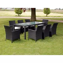 Festnight 9 Piece Outdoor Patio Dining Set Poly Rattan Glass Top Dining Table and 8 Chairs with  ...