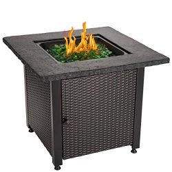 Blue Rhino Outdoor Propane Gas Fire Pit with Rock Top and Green Fire Glass – Add Warmth an ...