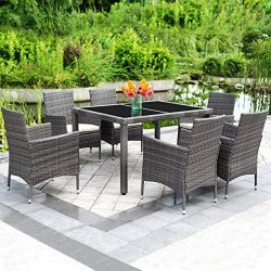 Solaste 7pcs Outdoor Furniture All-Weather Patio Porch Dining Table and Chairs Grey Wicker with  ...