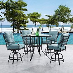 Hanover LAVDN5PCBR-BLU Lavallette 5-Piece Counter-Height Ocean Blue with 4 Swivel Chairs and a 5 ...
