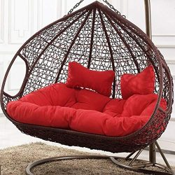 YEARLY Egg Nest Shaped Chair Cushions, Basket Cushion Wicker Rattan Swing Chair Pads Hanging Ham ...
