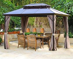 Erommy 10x13ft Outdoor Double Roof Hardtop Gazebo Canopy Curtains Aluminum Furniture with Nettin ...