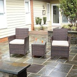 Homall Patio Furniture Bar Set Patio Table and Chairs Set Outdoor Furniture Cushioned Tempered G ...