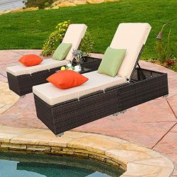 Do4U 3 Pieces Outdoor Chaise Lounge – Easy to Assemble Chaise Longue – Thick & C ...