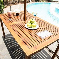 Outdoor Patio Rustic Rectangular Picnic Dining Table   Acacia Wood   Umbrella Hole   Patio Backy ...