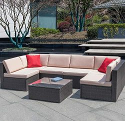 Devoko 7 Pieces Outdoor Sectional Sofa All-Weather Patio Furniture Sets Manual Weaving Wicker Ra ...