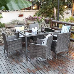 Aok Garden 7-Piece Outdoor Furniture Wicker Square Patio Dining Set Furniture with 6 Chairs R ...