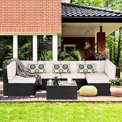BANFANG 7 Pieces Patio PE Rattan Wicker Sofa Set Outdoor Sectional Furniture Conversation Chair  ...