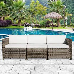 Orange-Casual 3-Seater Seating Outdoor Wicker Sofa Couch Patio Furniture w/Steel Frame Removable ...