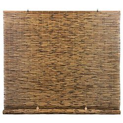 RADIANCE Cord Free, Roll-up Reed Shade, Natural 72 x 72 Cocoa