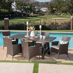Great Deal Furniture 303928 Muriel Outdoor 7 Piece Multibrown Wicker Set with Brown Stone Finish ...