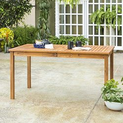 WE Furniture AZWSDTBR Outdoor Dining Table, 60″, Brown