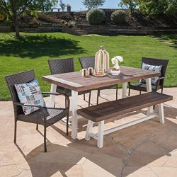 Great Deal Furniture 303913 Cecilia Outdoor 6 Piece Stacking Multibrown Wicker Dining Set with D ...