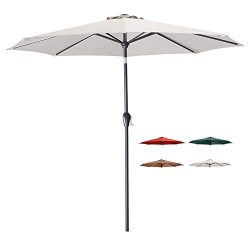 Tempera 9 Ft Patio Umbrella Outdoor Garden Table Umbrella with Tilt and Crank 8 Ribs in Beige Canopy