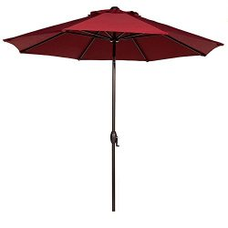 Abba Patio Sunbrella Patio Umbrella 9 Feet Outdoor Market Table Umbrella with Auto Tilt and Cran ...