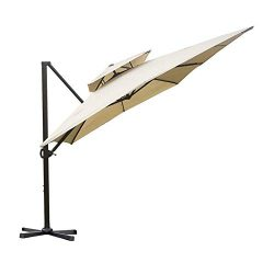 Abba Patio 9 by 12-Feet Rectangular Offset Cantilever Dual Wind Vent Patio Hanging Umbrella with ...