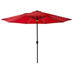 FLAME&SHADE 11′ Solar Power Outdoor Patio Market Umbrella with LED Lights for Large Ou ...