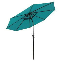 COBANA Patio Umbrella Outdoor Aluminum Table Umbrella of 9-Feet with 8 Ribs and Push Button Tilt ...