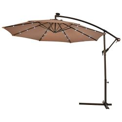 Tangkula 10FT Outdoor Patio Umbrella Solar LED Lighted Sun Shade Market Umbrella with Hanging Co ...