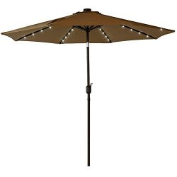 Sundale Outdoor Solar Powered 32 LED Lighted Patio Umbrella Table Market Umbrella with Crank and ...