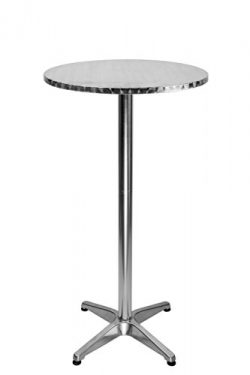LXDUR Aluminium Round Bistro Patio Bar Table with 2 Adjustable High Table Indoor-Outdoor 23.7 in ...