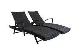 Outdoor Patio Synthetic Backyard Poolside Garden Rattan Wicker Chaise Lounge Chair Set Adjustabl ...