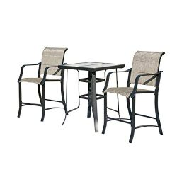 LOKATSE HOME 3 Piece Outdoor Patio Bistro Bar Set Wide with Table and Chairs for 2,Gray