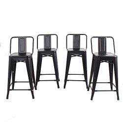 Buschman Set of 4 Matte Black 24 Inch Counter Height Metal Bar Stools with Medium Back, Indoor/O ...