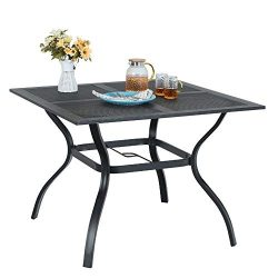 MF STUIDIO 37″ x 37″ Square Patio Bistro Table Outdoor Dining Table Powder-Coated St ...