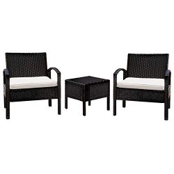 M&W 3 Pieces Patio Sofa Set, PE Wicker Rattan Outdoor Sectional Funiture, 2 Cushioned Chairs ...