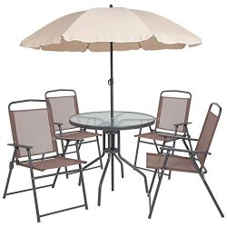 Flash Furniture Nantucket 6 Piece Brown Patio Garden Set with Table, Tan Umbrella and 4 Folding  ...